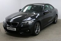 USED 2015 15 BMW 2 SERIES 2.0 220D M SPORT 2d AUTO 188 BHP FINISHED IN A STUNNING BLACK + FULL SERVICE HISTORY + £20 TAX + SAT-NAV + BLUETOOTH + DAB RADIO + AUX/USB + STOP/START + DUAL ZONE CLIMATE CONTROL + AIR CON + MULTI FUNCTION STEERING WHEEL + CRUISE CONTROL + SPEED LIMITER + ELECTRIC MIRRORS + FOLDING MIRRORS + ELECTRIC WINDOWS + FRONT AND REAR PARKING SENSORS + AUTO LIGHTS + AUTO WIPERS + PRIVACY GLASS + XENON HEADLIGHTS + 18 INCH M-SPORT ALLOY WHEELS