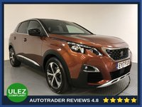 USED 2017 17 PEUGEOT 3008 1.2 PURETECH S/S GT LINE 5d AUTO 130 BHP FULL PEUGEOT HISTORY - 1 OWNER - SAT NAV - CAMERA - REAR SENSORS - AIR CON - BLUETOOTH - DAB RADIO