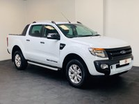 USED 2013 63 FORD RANGER 3.2 WILDTRAK 4X4 DCB TDCI 4d AUTO 197 BHP LOW MILES + NO VAT + SAT NAV + ROLL COVER + STUNNER IN WHITE