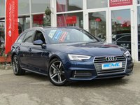 USED 2016 16 AUDI A4 2.0 AVANT TDI S LINE 5d AUTO 188 BHP STUNNING, 1 OWNER, AUTO, £30 ROAD TAX, AUDI A4, 2.0 TDI S/LINE, 188 BHP. Finished in SCUBA BLUE METALLIC with contrasting Sports Part BLACK LEATHER trim. This popular New Shape Audi Estate has genuine good looks and a luxurious feel. Great to drive and practical with loads of room for the average sized family. Features include, Sat Nav, Blue Tooth, Cruise Control, Parking Sensors, DAB, Electric Boot, Part Leather and much more. Audi Dealer serviced at 19053 miles and at 37446 miles.