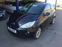 USED 2012 12 FORD KA 1.2 METAL 3d 69 BHP MOT 07/20 BLACK MET WITH BLACK CLOTH TRIM. 16 INCH ALLOYS. COLOUR CODED TRIMS. PRIVACY GLASS. AIR CON. R/CD PLAYER. AUX CONNECTION. 5 SPEED MANUAL. FULL SERVICE HISTORY. AGE/MILEAGE RELATED SALE. PART EXCHANGE CLEARANCE CENTRE - LS23 7FQ. TEL 01937 849492 OPTION 3