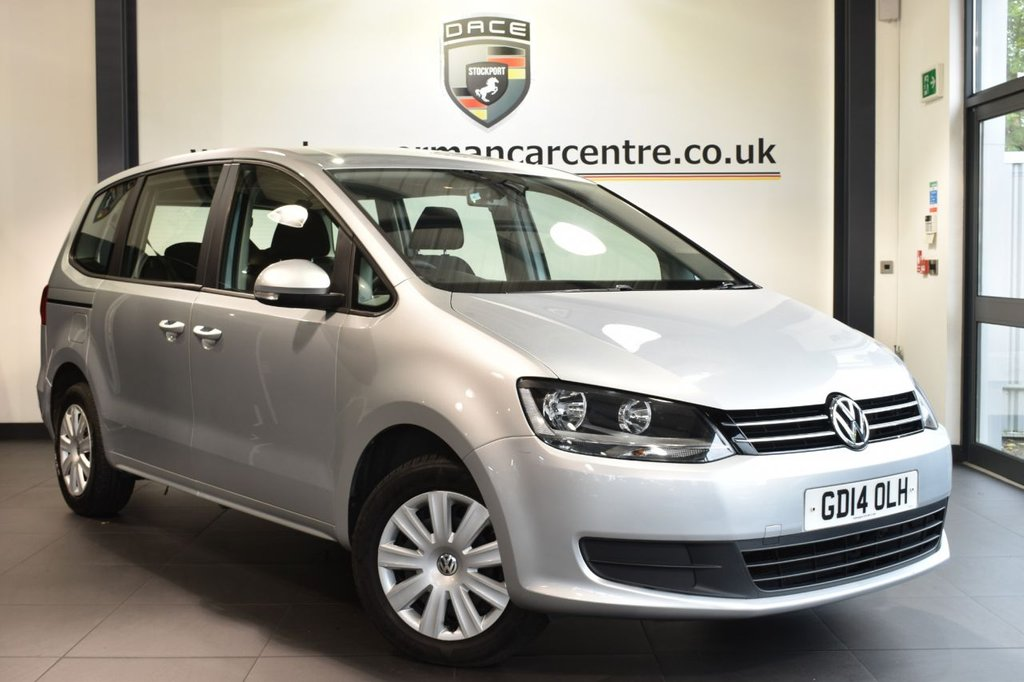 USED 2014 14 VOLKSWAGEN SHARAN 2.0 S TDI DSG 5DR AUTO 142 BHP superb service history Finished in a stunning reflex metallic silver. Upon opening the drivers door you are presented with immaculate cloth upholstery, superb service history, sport seats, dab radio,heated mirrors, 7 seats, dual climate control, air conditioning, isofix sytem, auto stop/start function, aux port