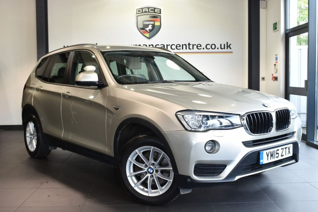 """USED 2015 15 BMW X3 2.0 XDRIVE20D SE 5DR AUTO 188 BHP full service history Finished in a stunning mineral silver styled with17""""  alloys. Upon opening the drivers door you are presented with full nevada/oyster leather interior, full service history, satellite navigation, bluetooth, xenon lights, dab radio, cruise control, light package, Headlight cleaning system, Automatic air conditioning,  Performance Control, automatic boot lid, rain sensors, parking sensors"""