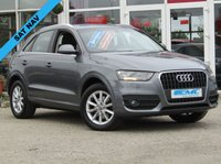 USED 2012 12 AUDI Q3 2.0 TDI SE 5d 138 BHP STUNNING, 1 PREVIOUS OWNER, AUDI Q3 2.0 TDI SE, 140 BHP. Finished in MONSOON GREY MET with contrasting GREY CLOTH SEATS. This Audi Q3 is a upmarket, premium, compact SUV. It offers plenty of space, Great fun to drive and lots of high tech features. All at a very affordable price. These features include, Sat Nav, PARKING SENSORS, B/Tooth and much more. Dealer serviced at 19492 miles, 39068 miles, 58071 miles, 74754 miles and recently at 88555 miles.