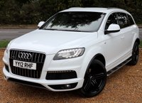 """USED 2012 12 AUDI Q7 3.0 TDI QUATTRO S LINE PLUS 5d AUTO 245 BHP/ **7 SEATER ** /SAT NAV/ LED LIGHTS/ HEATED SEATS ABSOLUTELY STUNNING LOOKING AND MINT CONDITION AUDI Q7 3.0 TDI 245 QUATRO S LINE +TIP AUTOMATIC/ SAT NAV/ REVERSING CAMERA/ ELECTRIC SEATS/ S LINE PACKAGE/ LEATHER SEATS/ CRUISE CONTROL/ PARKING SENSORS/ LED LIGHTS/ HEATED SEATS/ 21'IN S LINE ALLOYS/ COMES WITH FULL MAIN DEALER SERVICE (7 SERVICES), +NEW SERVICE @81K MILEAGE/ MOT - 22/06/2020/ ROAD TAX £300,- ANNUAL/ WARRANTY/ 2 KEYS/ HPI CLEARED/  BOOK A TEST DRIVE TODAY!  APPLY FOR A CAR FINANCE ON OUR WEBSITE PAGE """"FINANCE"""""""