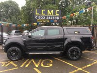 USED 2017 67 FORD RANGER 3.2 WILDTRAK 4X4 DCB TDCI 4d AUTO 197 BHP STUNNING PEARL BLACK SAPPHIRE, BLACK HALF LEATHER/ORANGE INTERIOR, BLACK ALLOYS, SIDE STEPS, BODY KIT, SAT NAV, REVERSE CAMERA, REAR WINDOW TOP COVER, MASSIVE SPEC, 1 OWNER, SERVICE HISTORY