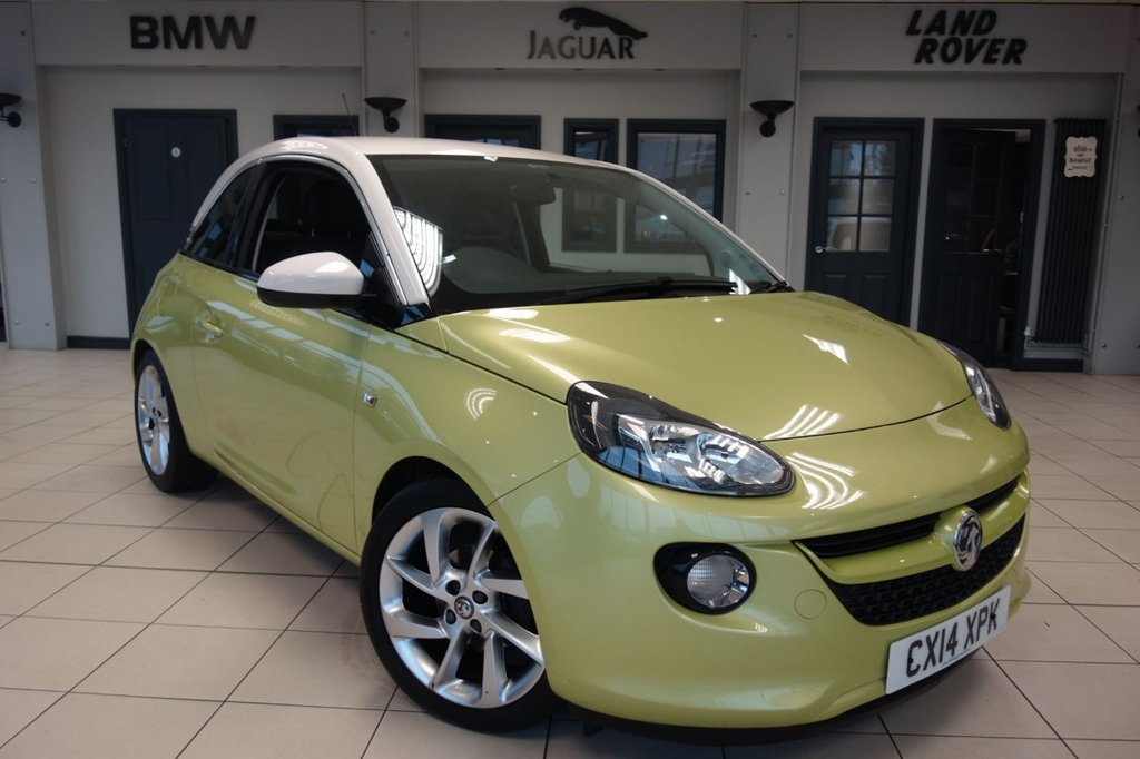 USED 2014 14 VAUXHALL ADAM 1.2 SLAM 3d 69 BHP FINNISHED IN STUNNING MINT MY MIND GREEN WITH FULL MOROCANNA CLOTH UPHOLSTERY + FULL VAUXHALL SERVICE HISTORY + CITY GO + BLUETOOTH + LED DOTTED STAR LIGHTS + AUX/USB + CLIMATE CONTROL....