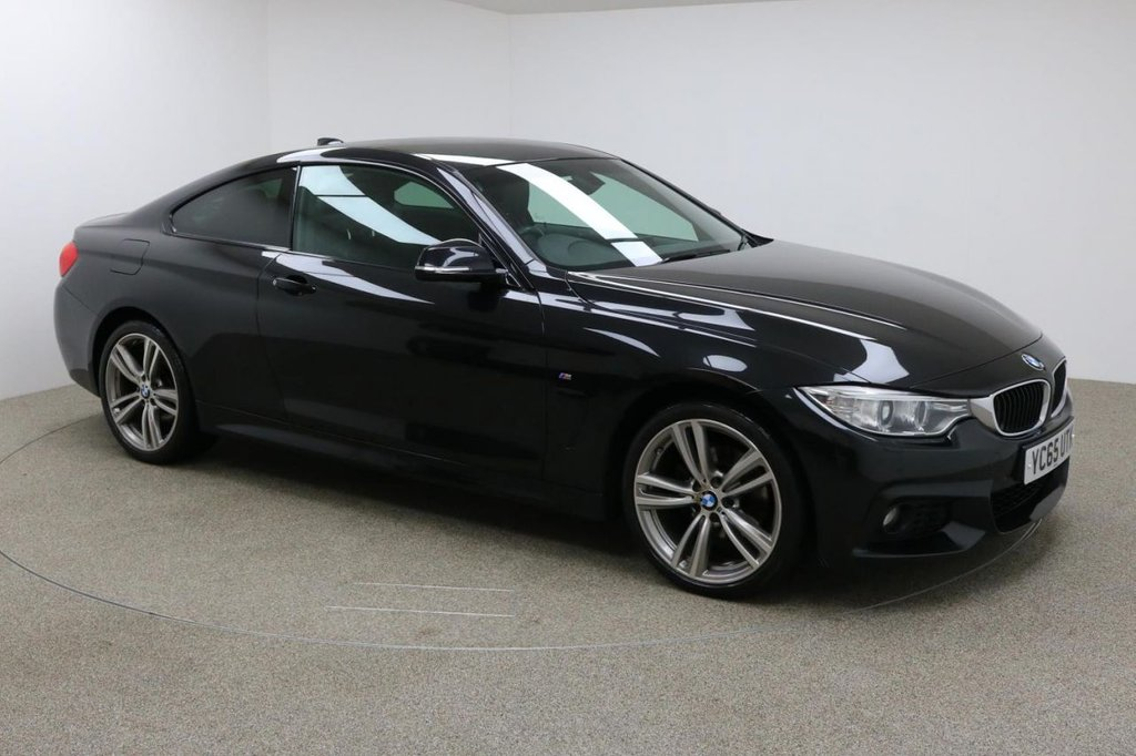 USED 2015 65 BMW 4 SERIES 2.0 420D XDRIVE M SPORT 2d AUTO 188 BHP FINISHED IN A STUNNING SAPPHIRE BLACK METALLIC + SAT-NAV + ELECTRIC SEATS + CRUISE CONTROL + LEATHER SEATS + HEATED SEATS + MEMORY SEATS + BLUETOOTH + DAB RADIO + AUX/USB + STOP/START + DUAL ZONE CLIMATE CONTROL + AIR CON + MULTI FUNCTION STEERING WHEEL + CRUISE CONTROL + ELECTRIC MIRRORS + ELECTRIC WINDOWS + FRONT AND REAR PARKING SENSORS + AUTO LIGHTS + AUTO WIPERS + 19 INCH DIAMOND CUT ALLOY WHEELS