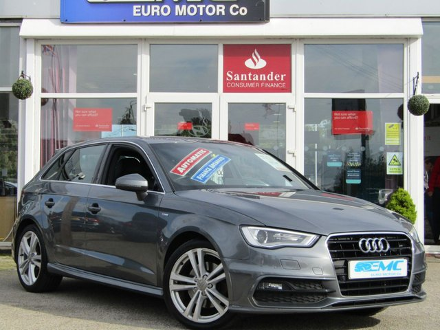 USED 2013 13 AUDI A3 1.8 TFSI S LINE 5d AUTO 178 BHP Stunning Monsoon Grey Audi A3 1.8 TFSI S-tronic with contrasting BLACK HEATED LEATHER trim. This fantastic facelift model combines a great interior with a refined driving experience. Features include Sat Nav, , B/Tooth, F&R PARKING SENSORS, Serviced at the following miles: 10 miles PDI, 11542 miles, 20940 miles will come with full MOT & Serviced prior to collection