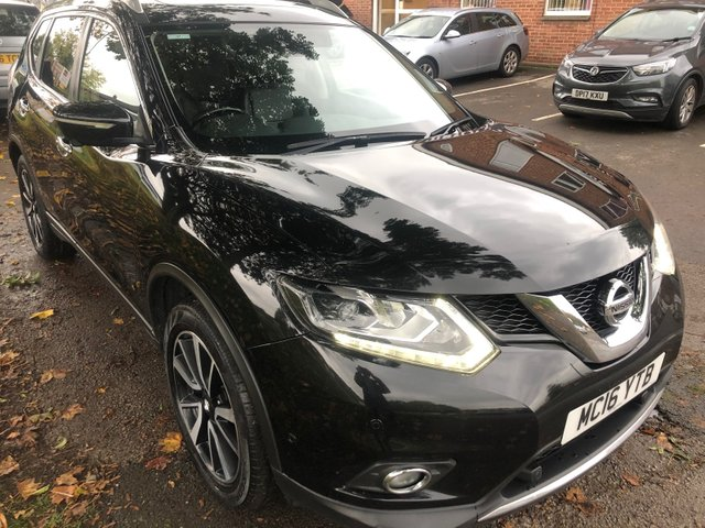 USED 2016 16 NISSAN X-TRAIL 1.6 DCI TEKNA 5d 130 BHP VERY CLEAN , VERY WELL MAINTAINED EXAMPLE , WITH FULL SERVICE HISTORY AND A GREAT COLOUR. ALSO INCLUDED IS 2 KEYS AND SD CARD , PANORAMIC SUNROOF. FULL LEATHER INTERIOR. 19 INCH 5 SPOKE ALLOYS. PARKING SENSORS. HEATED WINDSCREEN. HEATED SEATS. FULL LEATHER INTERIOR. AUX/USB, CRUISE CONTROL. CLIMATE CONTROL. AIR CON. SAT NAV.