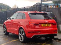 "USED 2015 15 AUDI Q3 2.5 RS TFSI QUATTRO 5d AUTO 335 BHP STUNNING MISANO RED METALLIC WITH FINE BLACK NAPPA LEATHER WITH DIAMOND QUILTING. PANORAMIC GLASS ROOF. 20"" ROTOR ALLOY WHEELS. MMI SATELLITE NAVIGATION PLUS. REVERSE CAMERA. NON SMOKING PACK. PARKING SYSTEM PLUS. AUDI MUSIC INTERFACE. PHONE PREP BLUETOOTH. LIGHTING PACK. AIR CONDITION. CRUISE CONTROL. ELECTRIC WINDOWS. HILL HOLD ASSIST. ALUMINIUM STYLING PACK. AUTO DIMMING REAR VIEW MIRROR. PLEASE GOTO www.lowcostmotorcompany.co.uk TO VIEW OVER 120 CARS IN STOCK. SOME OF THE CHEAPEST ONLINE"