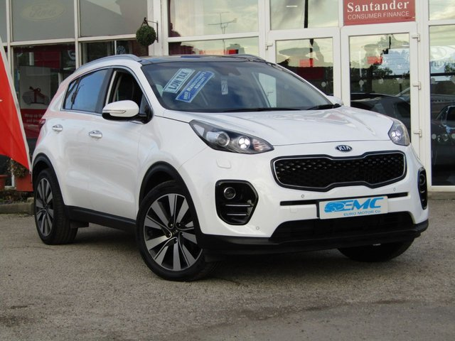 """USED 2016 66 KIA SPORTAGE 1.7 CRDI 4 ISG 5d 114 BHP STUNNING 1 OWNER, £30 ROAD TAX, KIA SPORTAGE 1.7 CRDI 4 ISG. Finished in ARTIC WHITE with contrasting FULL BLACK LEATHER CLIMATE SEATS. This car comes with the balance of Kia 7 year warranty with FSH. The Kia Sportage is one of the best MPV's on the market today, It offers striking looks and makes an ideal family SUV with great specification. Features include Sat Nav, DAB, Power folding Mirrors, 19"""" Alloys, Heated and Cooling Leather Seats, Heated Steering Wheel, Blue Tooth and much more."""