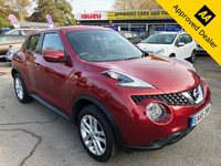 USED 2015 65 NISSAN JUKE 1.6 ACENTA PREMIUM XTRONIC 5d AUTO 117 BHP IN METALLIC RED WITH 43700 MILES, FULL SERVICE HISTORY, 1 OWNER AND IS ULEZ COMPLIANT Approved Cars are pleased to offer this stunning 2015 Nissan Juke in metallic red with a black cloth interior. It has been extremely well looked after and comes with full service history with service stamps at 10,472, 10619, 10.623, 15.7k and 37.2k miles. This is an ideal medium sized family car and comes with Sat Nav, bluetooth, DAB, dual zone aircon, rear privacy glass, isofix and much much more. For more information or to book a test drive please call our sales team on 01622 871555.
