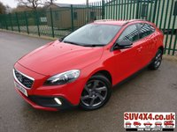 USED 2015 15 VOLVO V40 2.0 D2 CROSS COUNTRY LUX NAV 5d AUTO 118 BHP 4WD ALLOYS BLUETOOTH CRUISE SATELLITE NAVIGATION. STUNNING RED WITH 2 TONE R DESIGN LEATHER TRIM. CRUISE CONTROL. 17 INCH ALLOYS. COLOUR CODED TRIMS. BLUETOOTH PREP. CLIMATE CONTROL. TRIP COMPUTER. MEDIA CONNECTIVITY. MFSW. AUTO GEARBOX. MOT 07/20. SERVICE HISTORY. PRESTIGE SUV CENTRE LS23 7FR. TEL 01937 849492 OPTION 1