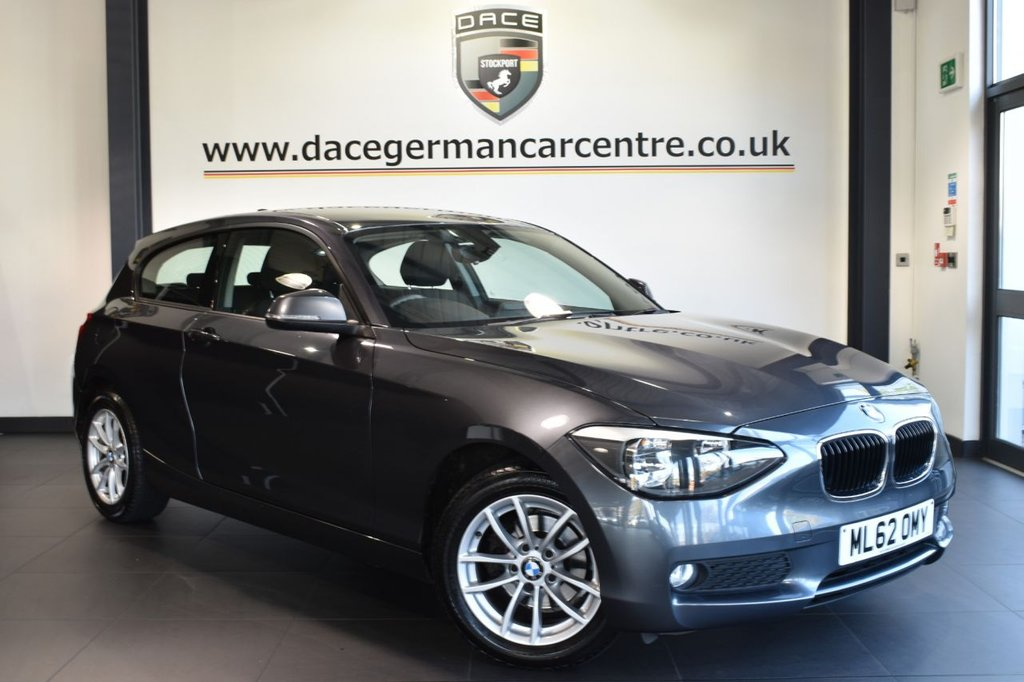 USED 2013 62 BMW 1 SERIES 1.6 116I ES 3DR AUTO 135 BHP full bmw service history Finished in a stunning mineral metallic grey styled with alloys Upon opening the drivers door you are presented with anthracite upholstery, full bmw service history, satellite navigation, bluetooth, sport seats,  Fog lights, BMW Assist, parking sensors