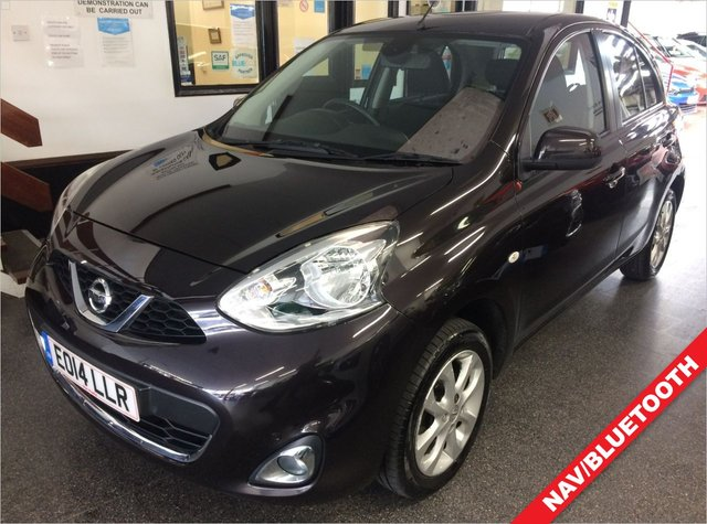 USED 2014 14 NISSAN MICRA 1.2 ACENTA 5d AUTO 79 BHP This Micra is finished in Metallic night shade with Black cloth seats. It is fitted with power steering, Nissan connect navigation, remote locking, electric windows and mirrors, Air Conditioning, Bluetooth, CD Stereo with Aux port and more. It has had three lady owners from new. The car has been maintained by the selling dealer and the local workshops with invoices of spend required. We will supply the car with a service, 6 months RAC Platinum and 12 months Mot. Finance is available 6.9% APR