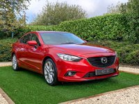 USED 2013 63 MAZDA 6 2.2 D SPORT NAV 4d 173 BHP Presented in Soul Red with 19 Inch Alloy Wheels and a Full Black Leather Interior with Contrast Red Stitching. Features Include Electrically Adjustable Heated Seats with Lumbar Support & Memory Function, Front and Rear Parking Sensors with Reversing Camera, Satellite Navigation, Bluetooth Connectivity with Voice Control, Cruise Control, Bose Premium Sound System, DAB Radio, Dual Zone Climate Control, Powerfold Door Mirrors, Rain Sensor Wipers, Stop Start Technology, Cruise Control...