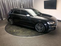 """USED 2016 66 AUDI A3 2.0 S3 SPORTBACK QUATTRO 5d AUTO 306 BHP FREE UK DELIVERY, 7"""" MMI SCREEN WITH MMI CONTROLLER, AUDI DRIVE SELECT, AUDI MUSIC INTERFACE, AUDI SMARTPHONE INTERFACE, AUTOMATIC HEADLIGHTS, AUX INPUT, BLUETOOTH AUDIO STREAMING, BLUETOOTH TELEPHONE CONNECTIVITY, CLIMATE CONTROL, CRUISE CONTROL, DAB RADIO, DAYTIME RUNNING LIGHTS, ELECTRONIC PARKING BRAKE, GEARSHIFT PADDLES, HEATED SEATS, SATELLITE NAVIGATION, START/STOP SYSTEM, STEERING WHEEL CONTROLS, TRIP COMPUTER, VOICE CONTROL SYSTEM"""