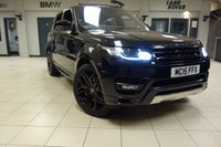 USED 2015 15 LAND ROVER RANGE ROVER SPORT 3.0 SDV6 AUTOBIOGRAPHY DYNAMIC 5d AUTO 306 BHP FINISHED IN STUNNING SANTORINI BLACK WITH THREE TONE SOFT FULL LEATHER SEATS UPGRADE + TOUCH SCREEN SATELLITE NAVIGATION + FULL GLASS PANORAMIC SUNROOF + DRIVER HEAD UP DISPLAY + 22 INCH POWDER COATED SATIN BLACK ALLOY WHEELS + COLOUR SCREEN REVERSE CAMERA + HEATED/COOLED FRONT/REAR SEATS + HEATED STEERING WHEEL + XENON HEADLIGHTS + ELECTRIC TAILGATE + 4 ZONE AIR CONDITIONING + DAB DIGITAL RADIO + BLUETOOTH + PRIVACY DOUBLE GLAZING + ANODISED RED PADDLE UPGRADE + MERIDIAN SOUND SYSTEM + REAR CLI