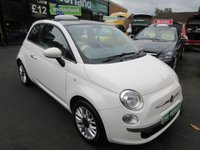 USED 2014 64 FIAT 500 1.2 LOUNGE 3d 69 BHP CALL 01543 379066... 12 MONTHS MOT... 6 MONTHS WARRANTY... FULL LEATHER.. GLASS ROOF