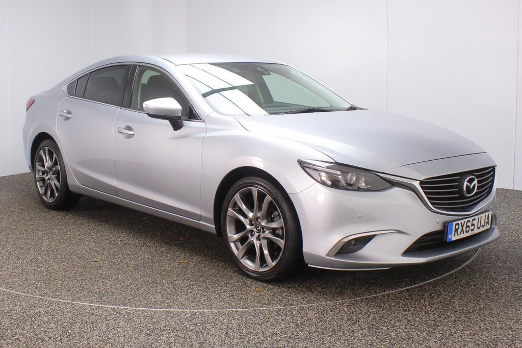 USED 2015 65 MAZDA 6 2.2 D SPORT NAV REAR CAM HEATED LEATHER 1 OWNER 148 BHP FULL SERVICE HISTORY + £20 12 MONTHS ROAD TAX + HEATED LEATHER SEATS + SATELLITE NAVIGATION + REVERSE CAMERA + BOSE PREMIUM SPEAKERS + BLUETOOTH + CRUISE CONTROL + CLIMATE CONTROL + MULTI FUNCTION WHEEL + RADIO/CD/AUX/USB + ELECTRIC/MEMORY SEATS + DAB RADIO + XENON HEADLIGHTS + PRIVACY GLASS + ELECTRIC WINDOWS + ELECTRIC MIRRORS + 19 INCH ALLOY WHEELS
