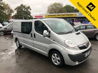 USED 2014 14 VAUXHALL VIVARO 2.0 2900 CDTI SPORTIVE LWB DCB 113 BHP IN METALLIC SILVER WITH 74800 MILES, FULL SERVICE HISTORY, 1 OWNER AND A GREAT SPEC (NO VAT) Approved Cars are pleased to offer this 2014 Vauxhall Vivaro 2.0 2900 CDTI Sportive long wheel base crew cab. This work van is in stunning condition with 6 seats and a large cargo space with tie down points. This van is also VAT free. It has been extremely well looked after and comes with a full service history. It is well equipped with 6 seats, DAB radio, FM/AM radio, phone connection, rear sliding doors and much much more. There is no VAT on this van. For more information call 01622871555