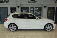 USED 2014 63 BMW 1 SERIES 2.0 118D M SPORT 5d 141 BHP FINISHED IN STUNNING ALPINE WHITE WITH CONTRASTING ALCANTARA SEATS + M SPORTS PACKAGE + M SPORTS SUSPENSION + DAB DIGITAL RADIO + BLUETOOTH + DUAL ZONE CLIMATE CONTROLLED AIR CONDITIONING + REAR PARKING SENSORS + CRUISE CONTROL + MULTI STEERING  + SELECTABLE DRIVING MODES + 60/40 SPLIT FOLDING REAR SEATS + SILVER 18 INCH M SPORT 5 SPOKE ALLOY WHEELS