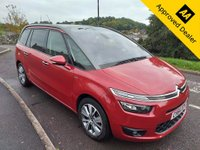 USED 2014 64 CITROEN C4 GRAND PICASSO 1.6 E-HDI AIRDREAM EXCLUSIVE PLUS 5d 113 BHP IN METALLIC RED WITH ONLY 56500 MILES, FULL SERVICE HISTORY, 1 OWNER  AND A GREAT SPEC  Approved Cars are pleased to offer this stunning 2014 Citroen C4 Grand Picasso 1.6 E-HDI Airdream exclusive. This ar has been extremely well looked after and maintained by its previous owner with service stamps at 24k, 37k, 49k, 50k and 51000 miles. This is an ideal large sized family car with the rear two seats being able to fold down flat out of the way and creating a large cargo area. The Citroen is well equipped with DAB, Bluetooth, AUX, USB, panoramic roof 7 seats and much much more. For mo