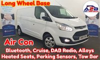 2016 FORD TRANSIT CUSTOM 2.2 TDCI 290 LIMITED 125 BHP LONG WHEEL BASE in White with Air Conditioning, Bluetooth, Cruise Control, DAB Radio, Heated Seats, Tow Bar, Alloy Wheels, Front & Rear Parking Sensors and more £11980.00