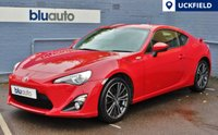 USED 2013 63 TOYOTA GT86 2.0 D-4S 2d AUTO 197 BHP Full Toyota History, Low Mileage, Dual Climate & Cruise Control, Sat Nav, Bluetooth/USB/AUX Connectivity. Bluetooth Audio, Folding Mirrors, Automatic Lights.