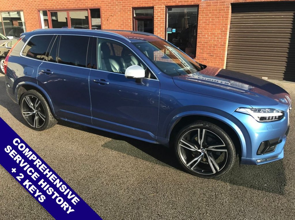 """USED 2016 66 VOLVO XC90 2.0 D5 POWERPULSE R-DESIGN AWD 5DOOR AUTO 231 BHP Family 7-Seater   :   DAB Radio   :   Satellite Navigation   :   USB & AUX   :   Cruise Control     Bluetooth      :      Climate Control / Air Con      :      R-Design Steering Wheel & Front Seats     Heated & Electric Front Seats   :   Front & Rear Parking Sensors   :   22"""" Alloy Wheels                 2 Keys   :   Comprehensive Service History"""