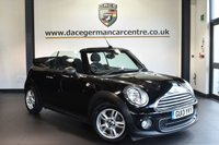 """USED 2013 13 MINI CONVERTIBLE 1.6 ONE 2DR 98 BHP excellent service history Finished in a stunning midnight metallic black styled with 15"""" alloys. Upon opening the drivers door you are presented with carbon black upholstery, excellent service history, bluetooth, dab radio, light package, Heated door mirrors, Fog lights, Rain sensors, Automatic air conditioning, parking sensors"""