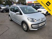 USED 2014 63 VOLKSWAGEN UP 1.0 MOVE UP 5d 59 BHP IN METALLIC SILVER WITH ONLY 43000 MILES, FULL SERVICE HISTORY, 1 ONWER, A GREAT SPEC AND IS ULEZ COMPLIANT Approved Cars are pleased to offer this stunning Volkswagen UP 1.0 Move edition 5 door with only 43000 miles. This metallic silver Up has been extremely well looked after by its single owner and has service stamps at 7k, 14k, 20k and 26000 miles. This car is very eco friendly and will make an ideal city car. It is well equipped with DAB, isofix, central locking, electric windows and much much more. For more information or to book a test drive please call our sales team on 01622 871555.