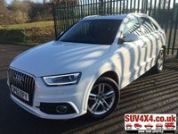 USED 2012 62 AUDI Q3 2.0 TDI QUATTRO S LINE 5d AUTO 175 BHP PAN ROOF SAT NAV LEATHER FSH PANORAMIC SUNROOF. SATELLITE NAVIGATION. S LINE 4WD QUATTRO. STUNNING WHITE WITH BLACK NAPPA LEATHER S-LINE SPORTS TRIM. COMFORT PACK. CRUISE CONTROL. 18 INCH ALLOYS. COLOUR CODED TRIMS. PRIVACY GLASS. PARKING SENSORS. BLUETOOTH PREP. CLIMATE CONTROL. TRIP COMPUTER. R/CD/MP3 PLAYER. AUTO GEARBOX WITH GEAR SHIFT PADDLES. MFSW. TOWBAR. MOT 09/20. SERVICE HISTORY. PRESTIGE SUV CENTRE LS23 7FR. TEL 01937 849492 OPTION 1