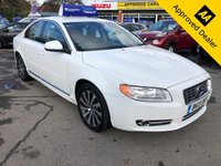 USED 2013 13 VOLVO S80 2.0 D4 SE 4d AUTO 161 BHP IN PEARL WHITE WITH ONLY 70400 MILES, FULL SERVICE  HISTORY, GREAT SPEC AND 2 OWNERS  Approved Cars are pleased to offer this stunning pearl white 2013 Volvo S80 2.0 D4 SE. The car is very rare and a great sized large automatic saloon that has only done 70400 miles and has been extremely well looked after and maintained with service stamps at 17k, 41k, 48k, 54k and 59000 miles, It is well equipped with Bluetooth, DAB radio, Full black leather seats, air con and much much more. For more information please call our sales team on 01622 871555.