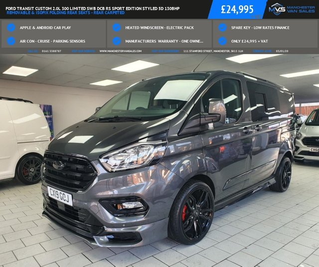 USED 2019 19 FORD TRANSIT CUSTOM 2.0L 300 LIMITED SWB DCB GREY RS SPORT EDITION 5D 130BHP REMOVABLE & ISOFIX FOLDING REAR SEATS - REAR CARPETED