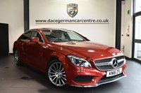 """USED 2016 16 MERCEDES-BENZ CLS CLASS 2.1 CLS220 D AMG LINE PREMIUM 4DR AUTO 174 BHP Finished in a stunning hyacinth metallic red styled with 19"""" alloys. Upon opening the drivers door you are presented with full leather interior, full service history, comand satellite navigation, panoramic sunroof, reversing camera, bluetooth, heated seats with memory, active park assist, memory package, dab radio, dynamic LED headlights, AMG stying package, privacy glass, mirror package"""