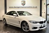 """USED 2015 15 BMW 4 SERIES 2.0 420I M SPORT 2DR AUTO 181 BHP full service history Finished in a stunning alpine white styled with 19"""" alloys. Upon opening the drivers door you are presented with full leather interior, full service history, pro satellite navigation, bluetooth, xenon lights, heated seats with memory, privacy glass, Headlight cleaning system, cruise control, light package,  Automatic air conditioning, rain sensors, dab radio, parking sensors"""