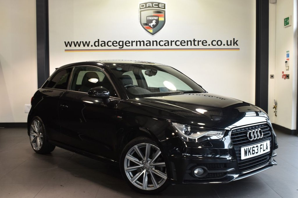 """USED 2014 63 AUDI A1 1.4 TFSI S LINE STYLE EDITION 3DR 121 BHP superb service history Finished in a stunning phantom black styled with 17"""" alloys. Upon opening the drivers door you are presented with half black leather interior, superb service history, bluetooth, cruise control, BOSE surround sound system, sport seats, multi-functional steering wheel, heated mirrors, auxiliary port, parking sensors"""