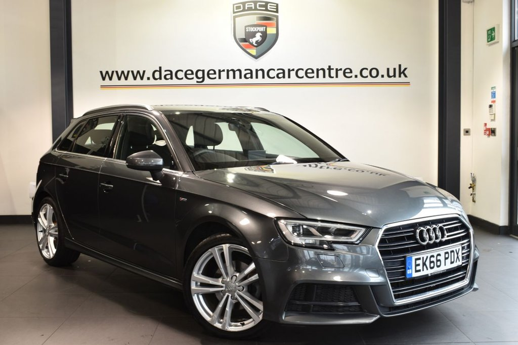 """USED 2016 66 AUDI A3 2.0 TDI S LINE 5DR AUTO 148 BHP full service history Finished in a stunning daytona metallic grey styled with 18"""" alloys. Upon opening the drivers door you are presented with half black leather interior, full service history, satellite navigation, bluetooth, dab radio, heated sport seats, cruise control, heated electric folding mirrors, climate control, parking sensors"""