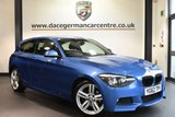 """USED 2013 62 BMW 1 SERIES 2.0 120D M SPORT 3DR 181 BHP full service history Finished in a stunning estoril metallic blue styled with 18"""" alloys . Upon opening the drivers door you are presented with anthracite upholstery, full service history, bluetooth, cruise control, dab radio, Multifunction steering wheel, sport seats, privacy glass, fog lights, rain sensors, Automatic air conditioning, light package, parking sensors"""