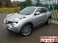 USED 2015 64 NISSAN JUKE 1.5 TEKNA DCI 5d 110 BHP SAT NAV LEATHER FSH PANORAMIC SUNROOF. SATELLITE NAVIGATION. STUNNING SILVER MET WITH BLACK LEATHER TRIM. KEYLESS ENTRY. CRUISE CONTROL. 17 INCH ALLOYS. COLOUR CODED TRIMS. PRIVACY GLASS. REVERSE CAMERA. BLUETOOTH PREP. CLIMATE CONTROL. TRIP COMPUTER. R/CD PLAYER. 6 SPEED MANUAL. MFSW. MOT 01/21. SERVICE HISTORY. PRESTIGE SUV CENTRE LS23 7FR. TEL 01937 849492 OPTION 1