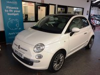 USED 2015 15 FIAT 500 1.2 LOUNGE 3d 69 BHP Two owners, full Fiat service history, June 2020 advisory free Mot. Finished in Bossanova White with White & Black check seats.