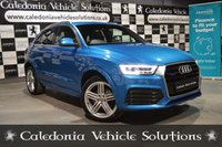 USED 2015 65 AUDI Q3 2.0 TDI QUATTRO S LINE PLUS 5d 182 BHP ONE OWNER FROM NEW with 12 MONTHS MOT & SERVICE HISTORY, FANTASTIC SPEC inc. UPGRADED HAINAN BLUE METALLIC PAINTWORK, HEATED SEATS & SAT NAV