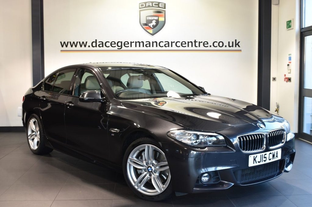 """USED 2015 15 BMW 5 SERIES 3.0 530D M SPORT 4DR AUTO 255 BHP full service history Finished in a stunning brilliant metallic grey styled with 19"""" alloys. Upon opening the drivers door you are presented with full cream leather interior, full service history, pro satellite navigation, bluetooth reversing camera, harman/kardon surround sound, heated sport seats, dab radio, LED Fog lights, automatic boot lid, Ambient interior lights, Headlight cleaning system, Driving experience switch incl. ECO PRO, Auto start/stop function, parking sensors"""