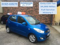 USED 2011 11 HYUNDAI I10 1.2 ACTIVE 5d 85 BHP Only £20 Road Tax & 34,000 Miles, Full Service History,12 Mths Mot & Pre Sale Service !!!