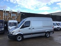 USED 2015 65 MERCEDES-BENZ SPRINTER 2.1 313CDI MWB HIGH ROOF LOW 64K MILES F/S/H. FINANCE. SILVER. 1 OWNER. LOW 64K MILES. LOW FINANCE. WARRANTY. PX