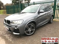 USED 2015 65 BMW X3 2.0 XDRIVE20D M SPORT 5d 188 BHP SAT NAV LEATHER 20 ALLOYS 4WD. SATELLITE NAVIGATION. STUNNING SPACE GREY MET WITH BLACK LEATHER NEVADA SPORT TRIM. HEATED SEATS. PROFESSIONAL MEDIA PACK WITH INTERNET CONNECTIVITY. PLUS PACK. CRUISE CONTROL. 20 INCH ALLOYS. COLOUR CODED TRIMS. PRIVACY GLASS. PARKING SENSORS. REVERSING CAMERA. BLUETOOTH PREP. CLIMATE CONTROL. R/CD PLAYER. AUTO GEARBOX WITH GEAR SHIFT PADDLES. MFSW. MOT 11/20. SERVICE HISTORY. PRESTIGE SUV CENTRE LS23 7FR. TEL 01937 849492 OPTION 1