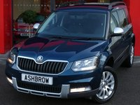 USED 2015 65 SKODA YETI 2.0 TDI SCR 4X4 OUTDOOR SE 5d 110 S/S 1 OWNER, FULL SERV HIST, UPGRADE SP SAVER SPARE + TOOLKIT, FULL BLACK LEATHER, HEATED FRONT SEATS, BLUETOOTH W/ AUDIO STREAMING, PARK PILOT REAR SENSORS W/ DISP, LED XENON LIGHTS, CRUISE, AUTO LIGHTS + WIPERS, ELEC POWER FOLDING HEATED DOOR MIRRORS, 4X4 4 WHEEL DRIVE, HEADLAMP WASHERS, SILVER MIRROR COVERS, BLACK ROOF RAILS, 17 IN ALLOYS, LEATHER MULTIFUNCT STEERING WHEEL, ELEC WINDOWS x4, DUAL CLIMATE A/C, TYRE MONITORING, OFF ROAD MODE, AUX & USB INPUTS, SD READER,VAT QUALIFYING.
