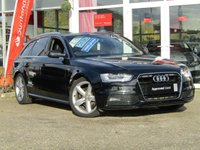 USED 2012 S AUDI A4 2.0 AVANT TDI S LINE 5d 174 BHP STUNNING, AUDI A4 2.0 TDI, S LINE, ESTATE, 170 BHP, MANUAL. Finished in BRILLIANT BLACK with contrasting BLACK PART LEATHER TRIM. This popular Audi Estate has genuine good looks and a luxurious feel. Great to drive and practical with loads of room for the average sized family. Features include, Blue Tooth, 170 BHP, Parking Sensors, Tinted windows, LED Day Run Lights, Part Leather and much more. Dealer serviced at 19461 miles, 36147 miles, 51718 miles and at 84369 miles on 20/9/2019.